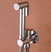 Wholesale Toilet Bidet Free Shipping - Free Shipping Toilet Brass Hand Held Bidet Spray Shower Head Douche Kit Shatta Copper Valve Bathroom Bidet sprayer Jet Tap BD121