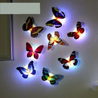 Wholesale Infant Bedroom - 10PCS LED night light with butterfly shape sticker on wall colorful decoration infant bed-lighting plastic romantic bedroom lamp