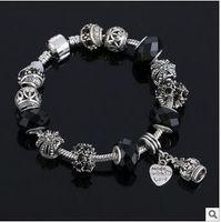 Wholesale Sterling Silver Tibetan Beads - Hot 2016 Wonderful Tibetan silver Pan box bead series DIY greased full diamond bracelet big hole diamond bracelet European charm brac