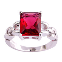 Cluster Rings spinel gems - Fashion Ruby Spinel K White Gold Plated Silver Ring Size Women Men Gems Jewelry