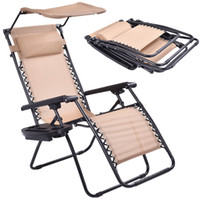 Wholesale Beige Folding Recliner Zero Gravity Lounge Chair With Shade Canopy Cup Holder