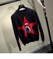 Wholesale Knitting Sweater Design Patterns - Design fashion winter new women's five-pointed star demon evil monster pattern knitted sweater pullover tops knitwear jumper