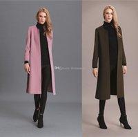 Wholesale Womens High Collar Coats - womens wool coats 2017 high quality girls long winter coats stand collar ladies long sleeves outerwear wool coats