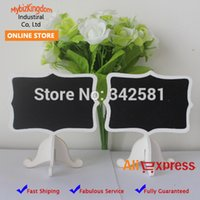 Party Decorations black buffet tables - Set of Pieces Fancy Shield Short Food Label White Wedding Black Chalkboard Stand Table Number name Card Buffet Sign Marker