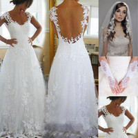 Wholesale made gloves - 2016 Nicest Wedding Dresses Cheap Ever A-line V Neck Sheer Panel Back Court Train Bridal Gowns (Get Veil and Gloves for free)