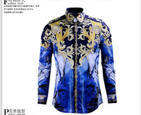 Wholesale Royal Blue Shirts Cotton - Free Shipping 2016 New Arrival Royal Fashion Brand Design Men's Long-Sleeved Upgraded Version Printed Camouflage Star Mens Casual Shirts