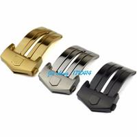 18 mm altın toptan satış-JAWODER Kordonlu Saat 18mm 20mm Gümüş Siyah Altın Renk CARRERA için Yüksek Kalite Paslanmaz Çelik Dağıtım Katı Kelebek Toka Toka