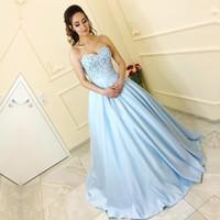 3d spitze abendkleid großhandel-Kleider Partei Abend Baby Blue Abendkleider 3D Blumen Appliques Schatz Ärmel Korsett Arabisch Abendkleider Abendkleid