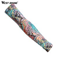 Wholesale Tattoo Patterns - Wholesale-Summer Cycling Arm Sleeves Peacock Pattern Tattoo UV Protection Compression Quick Dry Breathable Running Basketball Arm Warmers
