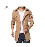 Wholesale Men S Belted Trench Coat - Winter Men Trench Coat Long Double-breasted Trenchcoat Mens Plus Size 5XL 4XL Outwear Overcoat Warm Men Trench Khaki Black