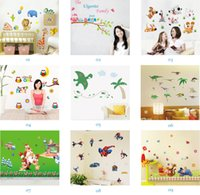 Wholesale Wall Art Free Shipping - Mix Order Wholesale Removable Home Decals Kids Room Wall Stickers Nursery Wall Decor 50x70cm Wall Art Free Shipping