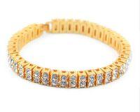"""Wholesale Bracelet Bling Men - super quality hip hop bangle 2 Row Crystal Iced Out Men Lady Bling Tennis Chain HipHop Bracelet 8 """" punk bracelet HipHop Bracelet"""
