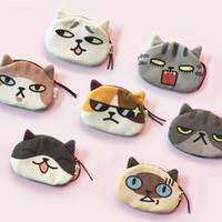 Wholesale Cat Shaped Purse - cute cat cosmetic bag with digital printing cat face, also a coin purse with cartoon shape zipper bags for fashion lady & kids, price cheap