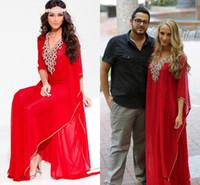 arabische stil partei kleider großhandel-Red Kaftan Arabischen Stil Abendkleider Nahen Osten V-ausschnitt Dubai Perlen Langarm Abaya Muslim Formales Abschlussball-kleider Plus Größe Partei Dressess