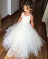 Wholesale cheap babies dresses for parties - White Ball Gown Tulle Flower Girl Dresses for Vintage Wedding Spaghetti Straps Lace Long 2016 Cheap Baby Kids First Communion Party Dresses