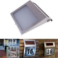 Wholesale Wholesale House Numbers - Led Solar Light Outdoor Stainless Solar Powered 3LED Illumination Doorplate Lamp House Number Light outdoor lighting hot sale