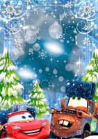 Falling Snowflakes Bokeh Inverno Neve Fotografia Backdrops Tela de vinil Green Pine Trees Crianças Crianças Cartoon Cars Photo Studio Background