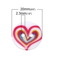 Wholesale Two Hole Heart Button - Resin Sewing Button Scrapbooking Round At Random Two Holes Heart Pattern 20.0mm Dia,100 PCs 2015 new M63103