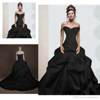 Wholesale Short Taffeta Wedding Dress Sweetheart - Vintage Gothic Ball Gown Wedding Dresses 2016 Off the Shoulder Straps Sweetheart Neckline Ruched Chapel Train Gothic Black Wedding Gowns