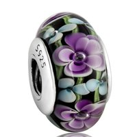 Barato Corrente De Bola Esterlina Por Atacado-8 Atacado Beatiful Flor Bola De Vidro Charme 925 Prata Esterlina Europeu Charm Bead Fit Pulseira Serpente Corrente Da Moda Jóias DIY Hot Hot8