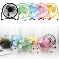 "Wholesale Power Cooling Fan - USB Electric 4"" Metal Head Fan 360 Rotate Metel Mute Radiator Fans Mini Portable Cooler Cooling Desktop Power PC Laptop Desk Fan"
