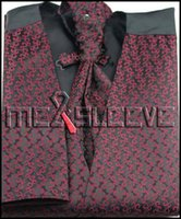 Wholesale Mens Vests Ascot Tie - Wholesale-Mens Suit Tuxedo Dress burgundy fashion Vest (vest+ascot tie+cufflinks+handkerchief)
