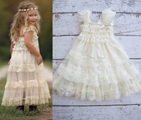 Wholesale Wholesale Ankle Sleeve - Party Dress Fashion Ruffle Dress Kid Princess Dresses Girl Dress Baby Dress 2016 Lace Dresses Children Clothes Kids Clothing Lovekiss