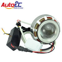Wholesale Hid Projector Headlight Kits Motorcycles - AutoEC Led hid bi-xenon Motorcycle projector lens KIT Headlight headlamps 35w 2200lm double angel eyes light bulb 12v #MTL002