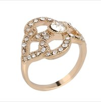 Wholesale Rhinestone Rings Side Stones - Rings for women With Side Stones rings Jewelry fashion NEW 2017 engagement ring Alloy Rhinestone gold plated ring stone