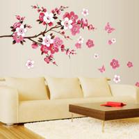 cartel de pared de fondo al por mayor-POR DHL O EMS 100 UNIDS DU # Cherry Blossom Cartel de La Pared Impermeable de Fondo Etiqueta de La Pared para la Sala de estar Dormitorio Cafe Home Decor