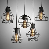 Wholesale Halogen Lighting Products - Product Indoor decorative modern pendant lamp E27 iron cage Iron lamp dining room bar counter coffee house decorate commercial lighting