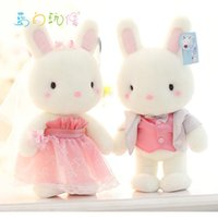 Wholesale Doll Overall - big size 40cm 2 piece lot birthbay lovers Wedding present baby boy girl gift high quality overalls dress rabbit doll WJYL-LB022