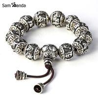 ingrosso braccialetti in argento tibetano uomo-charm bracele Fine Retro Buddismo tibetano Thai placcato argento Corda Buddha perline Braccialetti con ciondoli Uomo Sei parole Mantra OM MANI PADME HUM Lotus