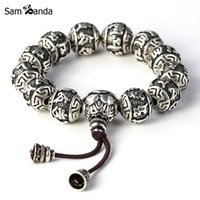 Wholesale charm thai - Wholesale- Fine Retro Tibetan Buddhism Thai Silver Plated Rope Buddha Beads Charm Bracelets Men Six Words Mantras OM MANI PADME HUM Lotus
