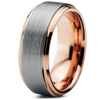 Wholesale Polish Rose Ring - Wholesale Men's 8mm Tungsten Carbide Wedding Band Plated 18K Rose Gold Smooth Brush Polished Bands size 4-15# free shipping