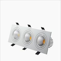 luces de techo de puck led regulable al por mayor-empotrable led regulable Downlight 3 cabeza Luces led cuadradas abajo COB 15W / 21W / 30W / 36W Proyector Lámpara de techo AC85-265V Luces LED puck