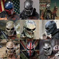 Wholesale Halloween Airsoft Mask - Outdoor Wargame Tactical Mask Black God Full Face Airsoft Paintball CS Army Mask Halloween Party Cosplay Horror Gost Skull Mask