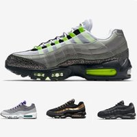 Wholesale Neon Green Laces - Air 95 Neon OG QS Running shoes men white grey green purple black gold outdoor athletic sports tennis sneaker shoes size 40-47
