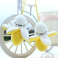 Wholesale Banana Key Chains - Mini 7CM New Banana Plush Stuffed TOY Small Phone Strap Pendant Charm & BAG Key Chain TOY DOLL Weddng Bouquet TOY DOLL