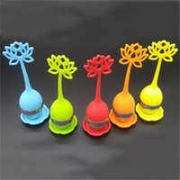 Wholesale Diffuser Herb - New Lotus Shaped Stainless Steel Tea Infuser Teaspoon Silicone Loose Leaf Herb Strainer Filter Diffuser 1PCS CC03