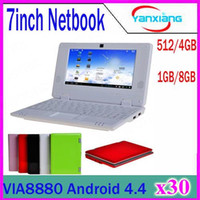 Wholesale Android Netbook 7inch - 30PCS Wholesale original 7inch Mini Netbook WIFI android 4.4 Laptop 512mb 4GB flash VIA8880 1.5Ghz notebook ZY-BJ-1