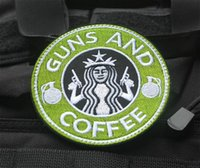 Wholesale Guns Coffee - High quality Tactical Guns and Coffee Morale Military 3D Embroidered patches military armband badge VP-41 sew on patches iron on patches