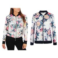 Wholesale Stylish Sports Jackets - New Womens Ladies Chinese Stylish Floral Bomber Jacket Classic Retro Zip Up Biker Vintage Coat Casual Sports Jogger Outfits Outwear