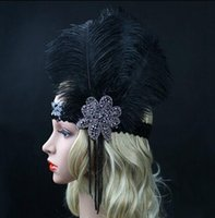 Other Black South American Black Ostrich Rhinestone Feather Headpiece Vintage Party Wedding Headband Flapper 1920s Great