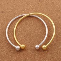 bracelet en or lisse achat en gros de-Vogue SP Bracelet Lisse Nouvel Argent / Or Plaqué Bracelet Fit Charme Européen Perles 19cm Bijoux DIY BB69