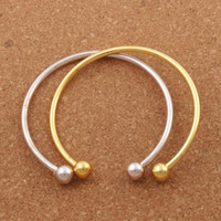 ingrosso vera argento placcato-Vogue SP Smooth Bangle New Silver / Bracciale placcato oro Fit europeo Charm Beads 19cm Gioielli DIY BB69