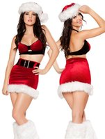 Wholesale Hen S Party - New Christmas Miss Santa Sexy Outfit Fancy Dress Hen Night Complete party Costume BLS3164 S-L