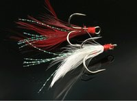 Wholesale Ice Jigs - Fishing Treble Hook With Fur Lure Red White Feather Fishhook Round Base Jig Size 4# 6# Hooks