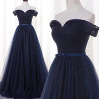 Wholesale Real Saab Dress - Elie Saab Evening Dresses Off the Shoulder Navy Bridesmaid Dresses Long Formal Gowns A Line Cheap Prom Dresses Real Pictures