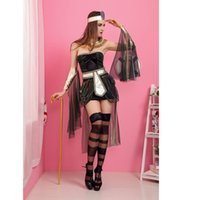 Wholesale Sexy Cleopatra Costumes - Off Shoulder Fashion Cleopatra Costume Sets Backless Girls Carnival Costume Outfit Adult Cos play Sexy Egyptian Costumes Women